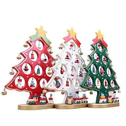 Oulii rbol de navidad de madera bricolaje dibujos animados navidad ornamento regalo mesa - Arboles de navidad de madera ...