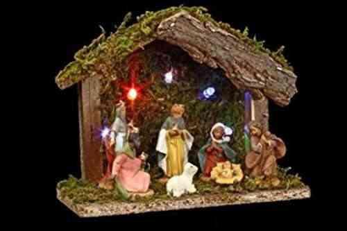 F erie christmas bel n navide o luminoso con 7 figuras for Amazon figuras belen